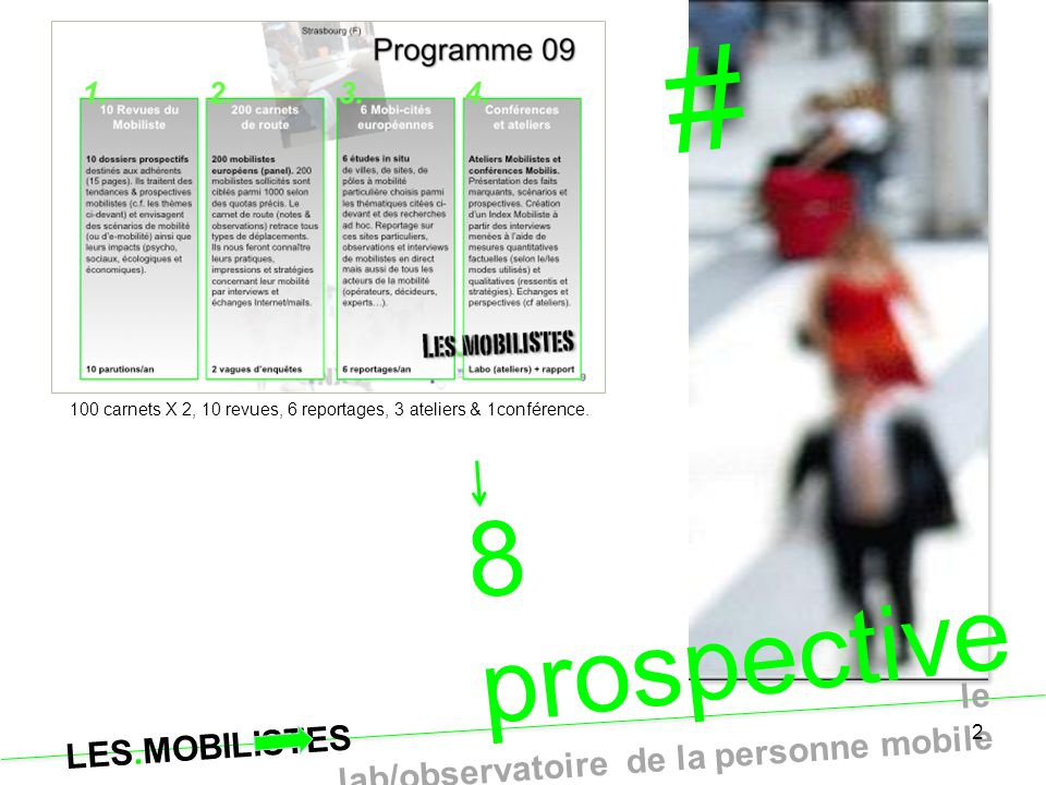 LES.MOBILISTES le lab/observatoire de la personne mobile 1 réunion briefing thèmes 2010 avec chaque entreprise ou organisation intéressée : sujets, questions, idées… Conférence vidéo ou téléphone.