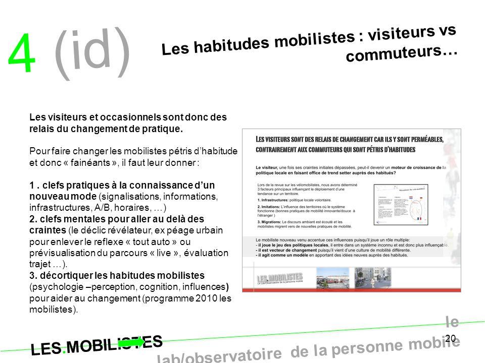 LES.MOBILISTES le lab/observatoire de la personne mobile 20 4 (id) Les habitudes mobilistes : visiteurs vs commuteurs… Les visiteurs et occasionnels s
