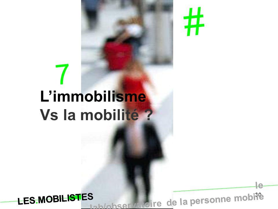 LES.MOBILISTES le lab/observatoire de la personne mobile 30 # 7 L'immobilisme Vs la mobilité ? LES.MOBILISTES le lab/observatoire de la personne mobil