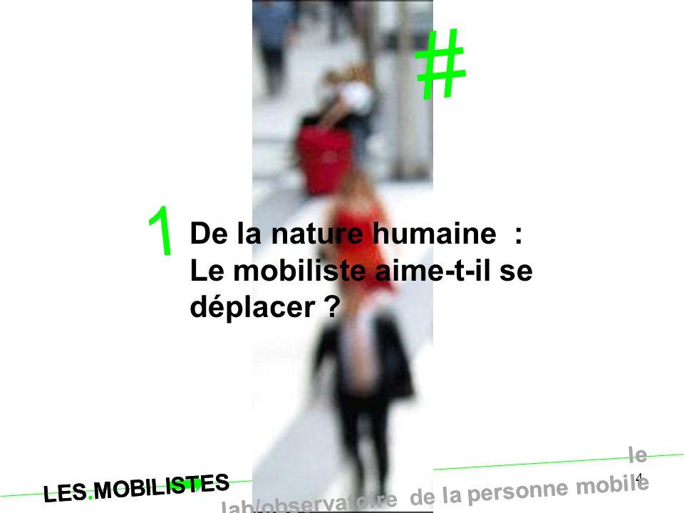 LES.MOBILISTES le lab/observatoire de la personne mobile 4 # 1 De la nature humaine : Le mobiliste aime-t-il se déplacer ? LES.MOBILISTES le lab/obser