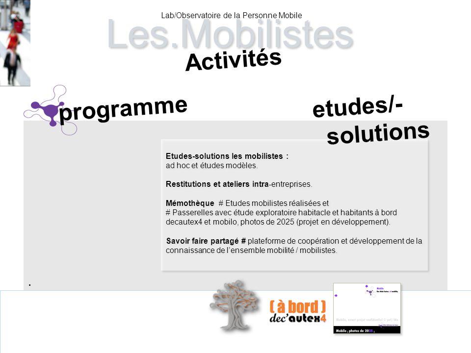 LES.MOBILISTES le lab/observatoire de la personne mobile. 44 © tous droits réservés. Les.Mobilistes Lab/Observatoire de la Personne Mobile Activités E