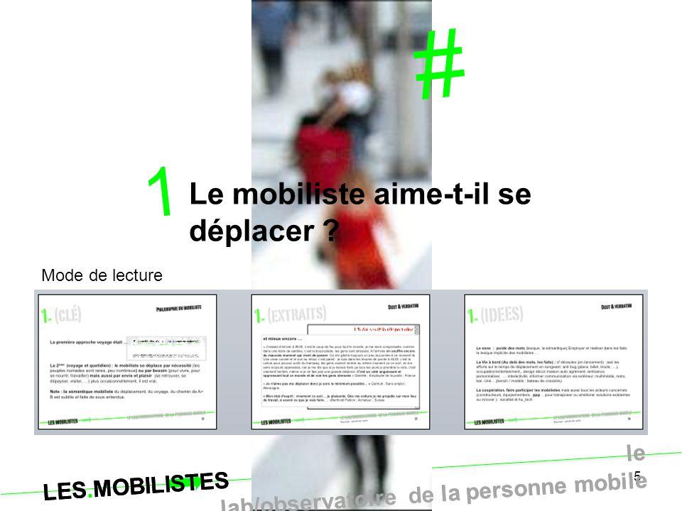 5 # 1 Le mobiliste aime-t-il se déplacer ? LES.MOBILISTES le lab/observatoire de la personne mobile Mode de lecture