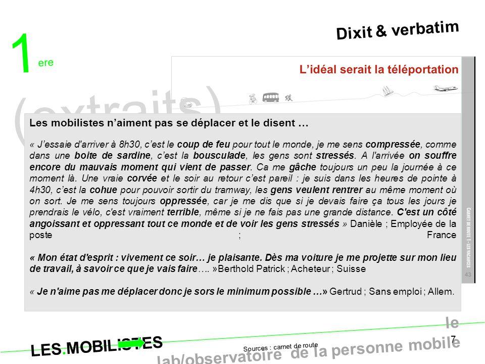 LES.MOBILISTES le lab/observatoire de la personne mobile 7 Dixit & verbatim Sources : carnet de route 1 ere (extraits) Les mobilistes n'aiment pas se