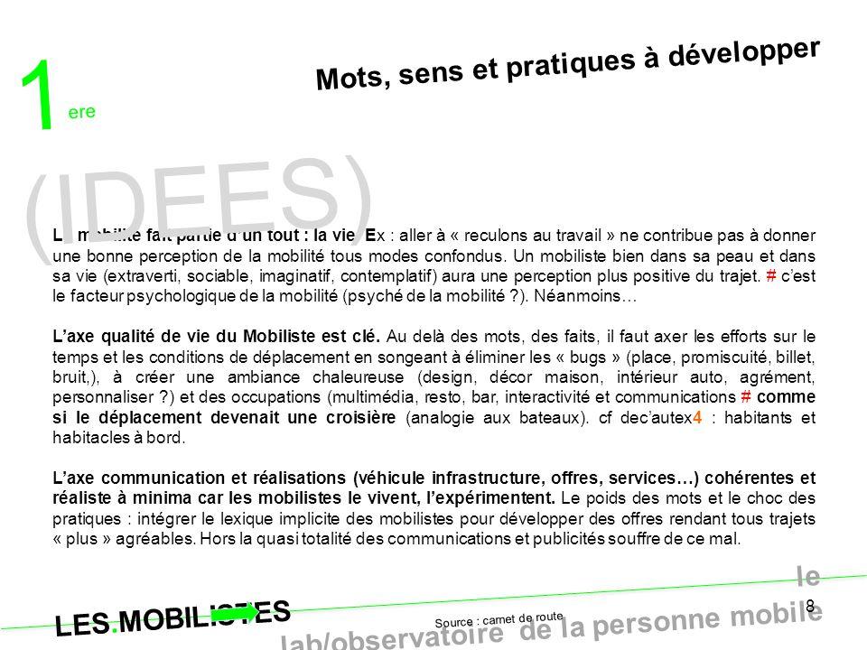 LES.MOBILISTES le lab/observatoire de la personne mobile 8 Mots, sens et pratiques à développer La mobilité fait partie d'un tout : la vie. Ex : aller