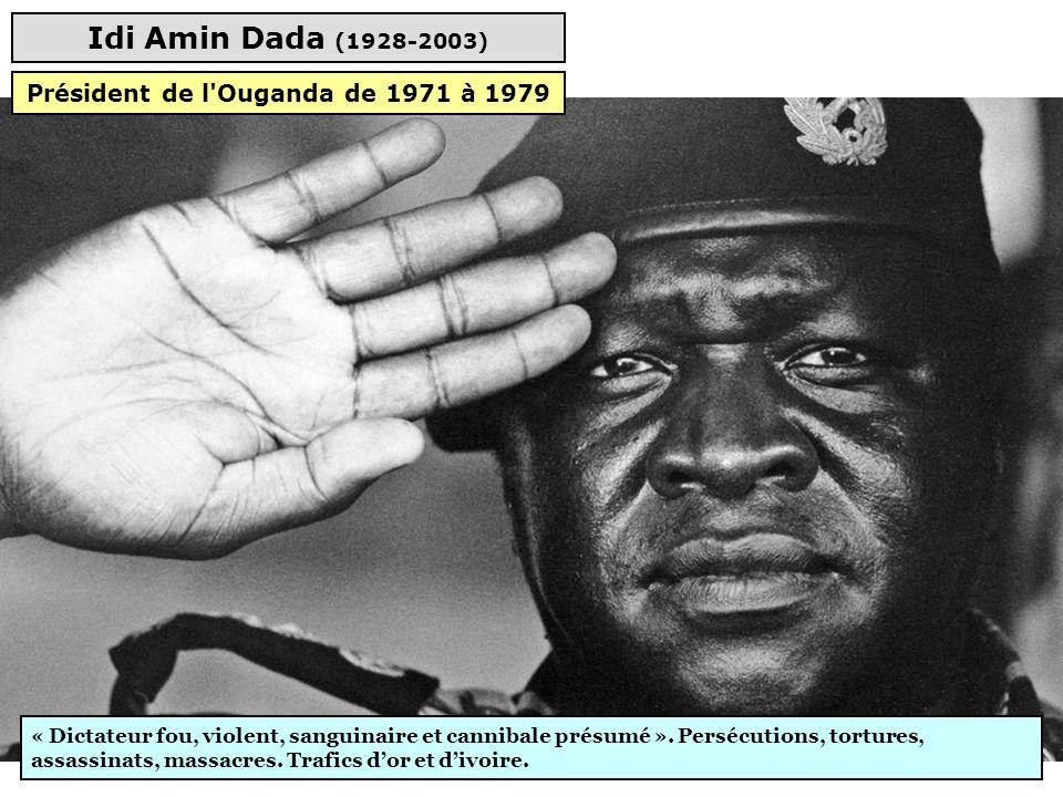 Mouammar Kadhafi (1942-2011) Système de terreur, pendaison et mutilation d'opposants, libertés nulles, parti unique, viols. Financement du terrorisme.