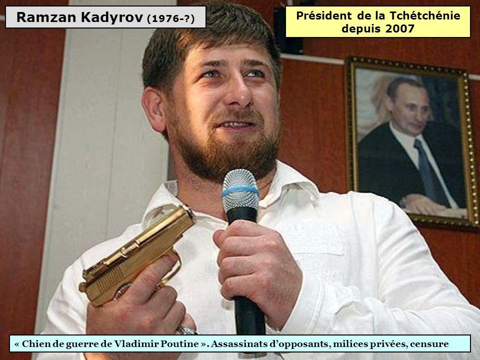 Gourbangouly Berdymoukhamedov (1957-?) Culte de la personnalité, 97% aux élections, projets pharaoniques. Internet censuré, médias sous contrôle, tort