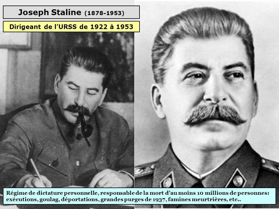 Joseph Staline (1878-1953) Régime de dictature personnelle, responsable de la mort d'au moins 10 millions de personnes: exécutions, goulag, déportations, grandes purges de 1937, famines meurtrières, etc..