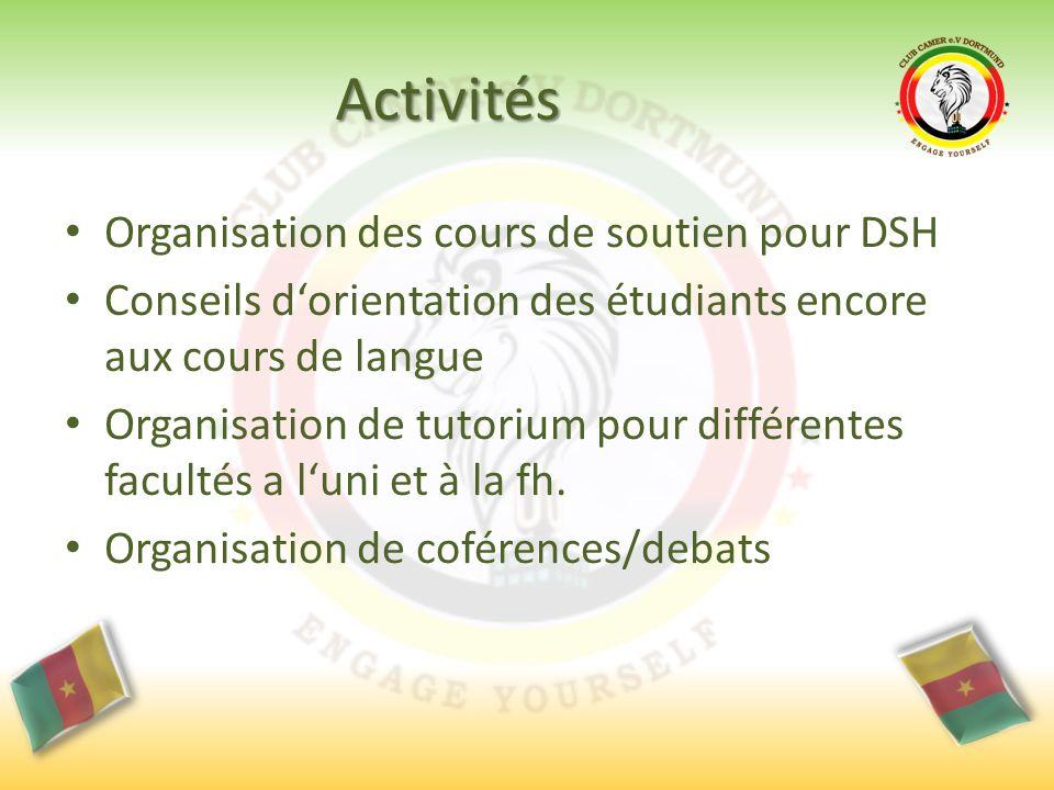 Activités Organisation des cours de soutien pour DSH Conseils d'orientation des étudiants encore aux cours de langue Organisation de tutorium pour différentes facultés a l'uni et à la fh.