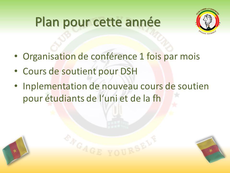 Plan pour cette année Organisation de conférence 1 fois par mois Cours de soutient pour DSH Inplementation de nouveau cours de soutien pour étudiants de l'uni et de la fh