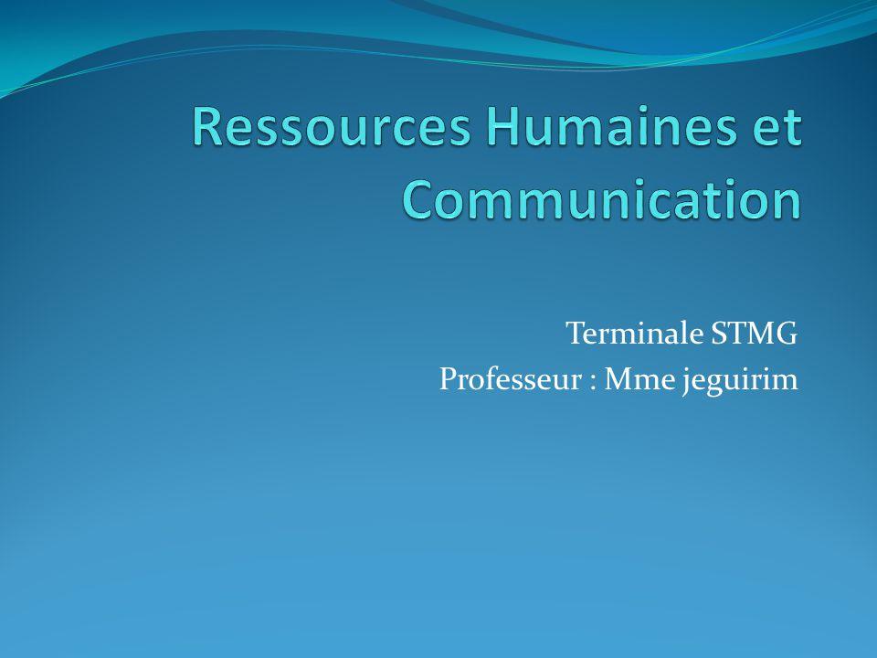 Terminale STMG Professeur : Mme jeguirim