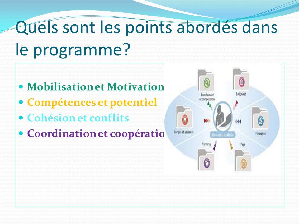 Quels sont les points abordés dans le programme? Mobilisation et Motivation Compétences et potentiel Cohésion et conflits Coordination et coopération