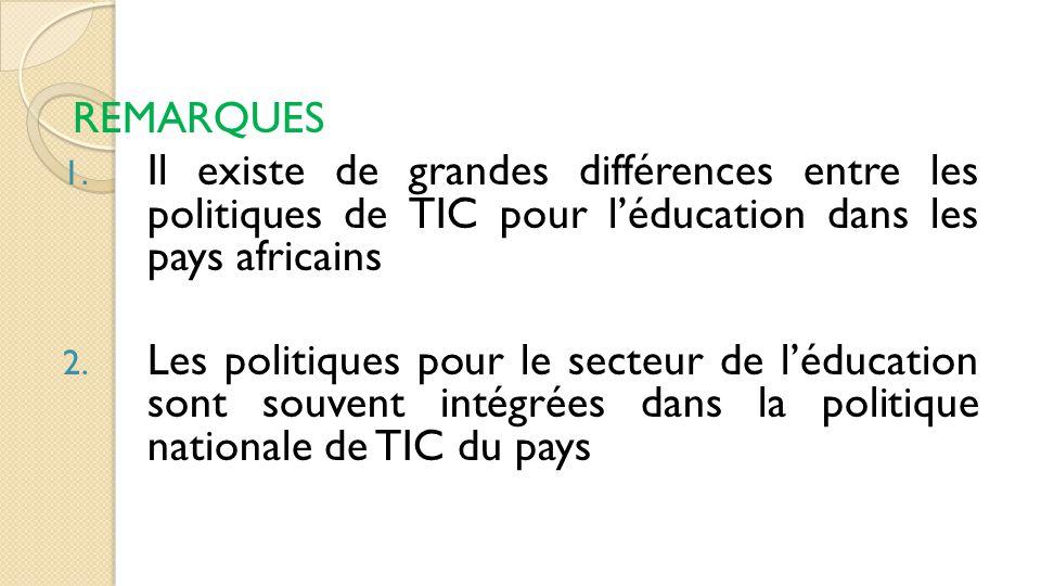 REMARQUES 1. Il existe de grandes différences entre les politiques de TIC pour l'éducation dans les pays africains 2. Les politiques pour le secteur d