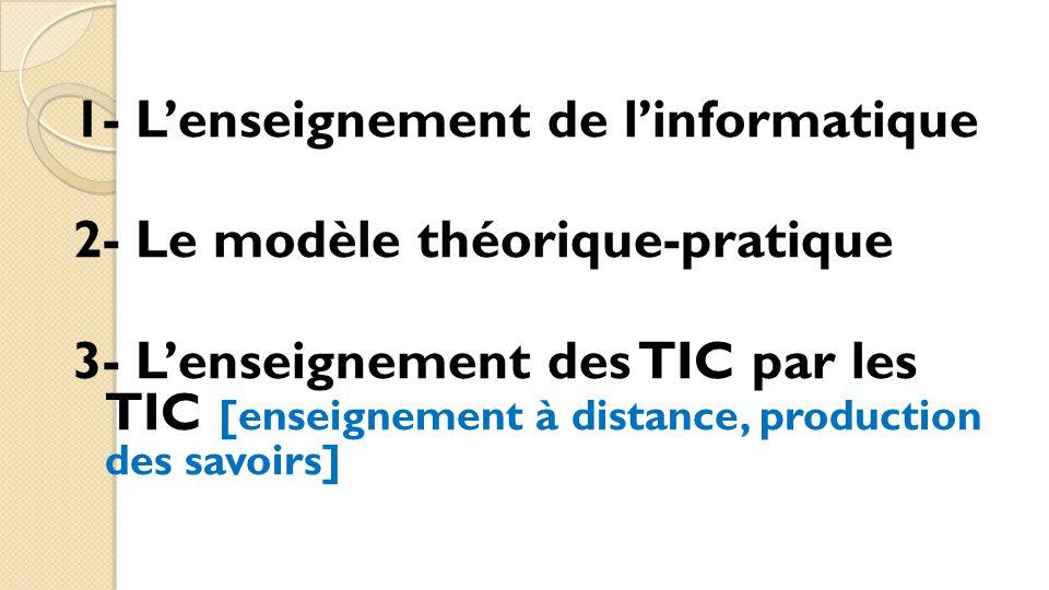 1- L'enseignement de l'informatique 2- Le modèle théorique-pratique 3- L'enseignement des TIC par les TIC [enseignement à distance, production des sav