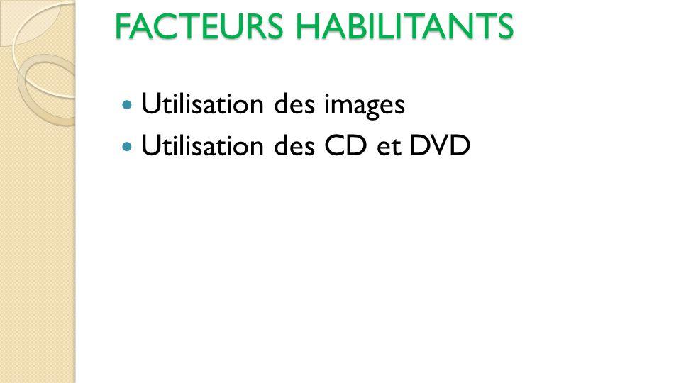 FACTEURS HABILITANTS Utilisation des images Utilisation des CD et DVD
