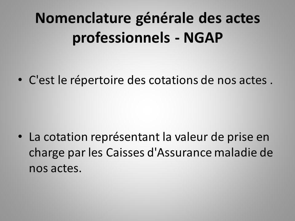 Nomenclature générale des actes professionnels - NGAP C'est le répertoire des cotations de nos actes. La cotation représentant la valeur de prise en c