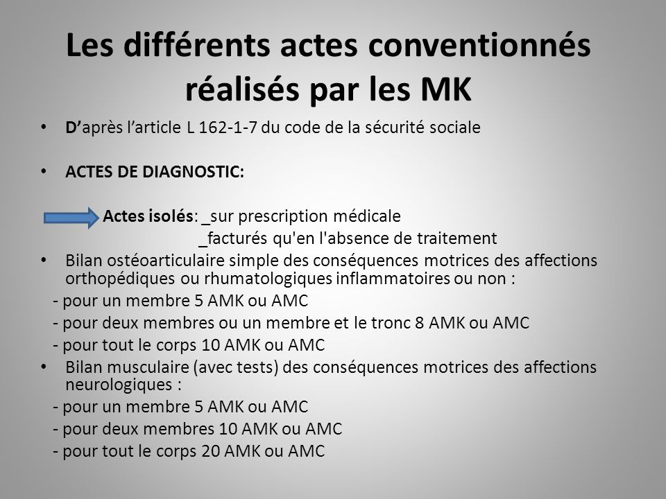 Les différents actes conventionnés réalisés par les MK D'après l'article L 162-1-7 du code de la sécurité sociale ACTES DE DIAGNOSTIC: Actes isolés: _sur prescription médicale _facturés qu en l absence de traitement Bilan ostéoarticulaire simple des conséquences motrices des affections orthopédiques ou rhumatologiques inflammatoires ou non : - pour un membre 5 AMK ou AMC - pour deux membres ou un membre et le tronc 8 AMK ou AMC - pour tout le corps 10 AMK ou AMC Bilan musculaire (avec tests) des conséquences motrices des affections neurologiques : - pour un membre 5 AMK ou AMC - pour deux membres 10 AMK ou AMC - pour tout le corps 20 AMK ou AMC