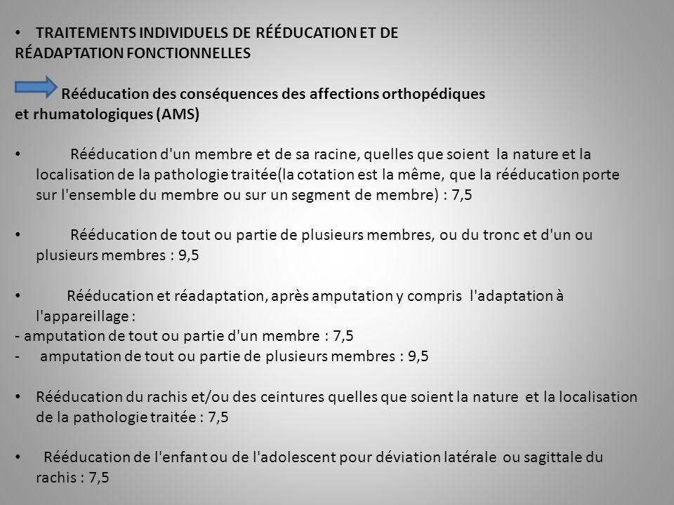 TRAITEMENTS INDIVIDUELS DE RÉÉDUCATION ET DE RÉADAPTATION FONCTIONNELLES Rééducation des conséquences des affections orthopédiques et rhumatologiques (AMS) Rééducation d un membre et de sa racine, quelles que soient la nature et la localisation de la pathologie traitée(la cotation est la même, que la rééducation porte sur l ensemble du membre ou sur un segment de membre) : 7,5 Rééducation de tout ou partie de plusieurs membres, ou du tronc et d un ou plusieurs membres : 9,5 Rééducation et réadaptation, après amputation y compris l adaptation à l appareillage : - amputation de tout ou partie d un membre : 7,5 -amputation de tout ou partie de plusieurs membres : 9,5 Rééducation du rachis et/ou des ceintures quelles que soient la nature et la localisation de la pathologie traitée : 7,5 Rééducation de l enfant ou de l adolescent pour déviation latérale ou sagittale du rachis : 7,5