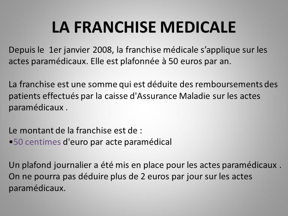 LA FRANCHISE MEDICALE Depuis le 1er janvier 2008, la franchise médicale s'applique sur les actes paramédicaux. Elle est plafonnée à 50 euros par an. L