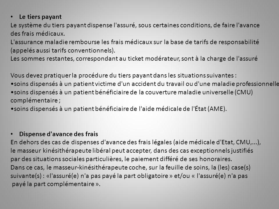 Le tiers payant Le système du tiers payant dispense l'assuré, sous certaines conditions, de faire l'avance des frais médicaux. L'assurance maladie rem