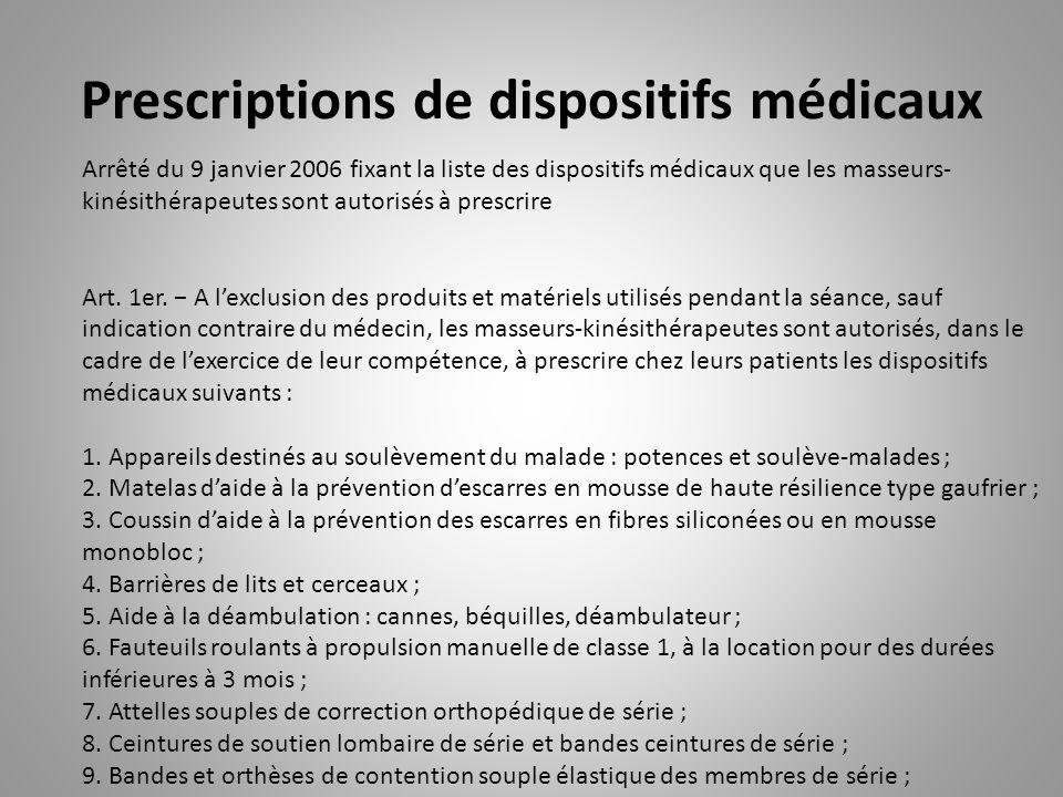 Prescriptions de dispositifs médicaux Arrêté du 9 janvier 2006 fixant la liste des dispositifs médicaux que les masseurs- kinésithérapeutes sont autorisés à prescrire Art.