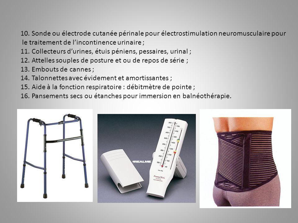 10. Sonde ou électrode cutanée périnale pour électrostimulation neuromusculaire pour le traitement de l'incontinence urinaire ; 11. Collecteurs d'urin