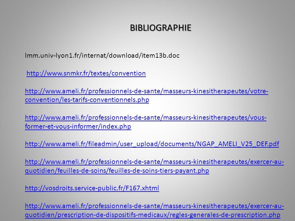 BIBLIOGRAPHIE lmm.univ-lyon1.fr/internat/download/item13b.doc http://www.snmkr.fr/textes/convention http://www.ameli.fr/professionnels-de-sante/masseu