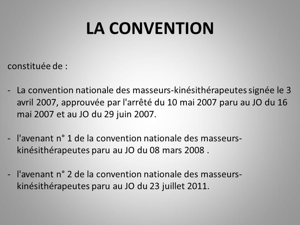 constituée de : -La convention nationale des masseurs-kinésithérapeutes signée le 3 avril 2007, approuvée par l'arrêté du 10 mai 2007 paru au JO du 16
