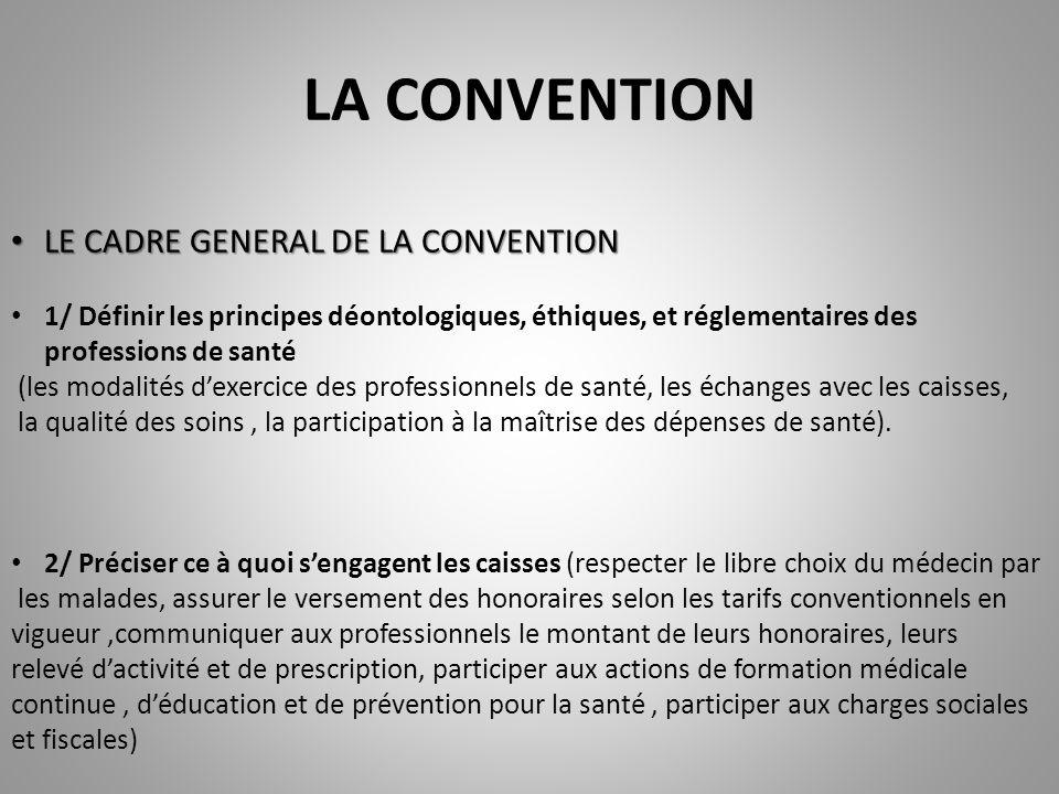 LA CONVENTION LE CADRE GENERAL DE LA CONVENTION LE CADRE GENERAL DE LA CONVENTION 1/ Définir les principes déontologiques, éthiques, et réglementaires