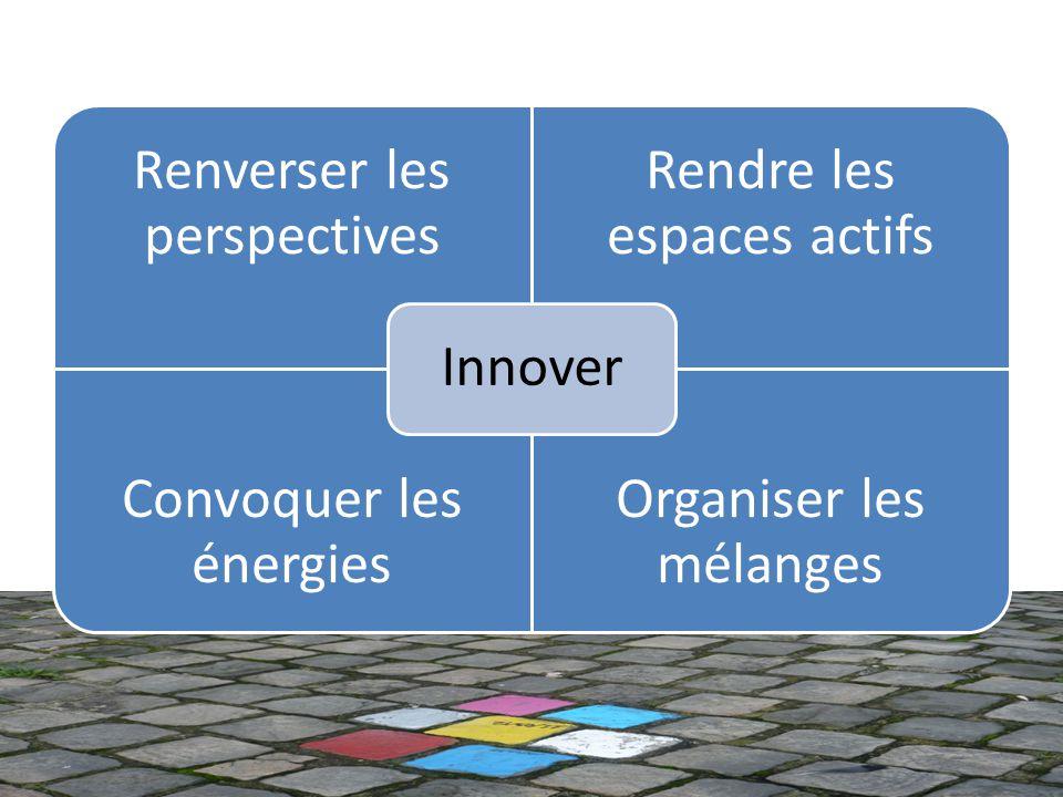 Renverser les perspectives Rendre les espaces actifs Convoquer les énergies Organiser les mélanges Innover
