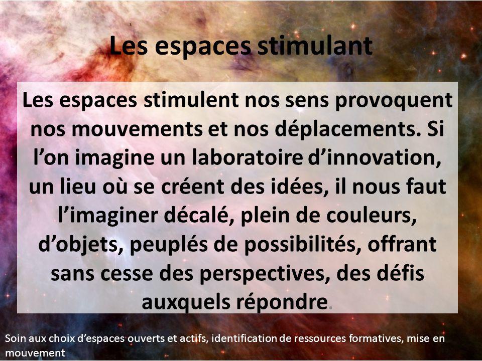 Les espaces stimulent nos sens provoquent nos mouvements et nos déplacements. Si l'on imagine un laboratoire d'innovation, un lieu où se créent des id