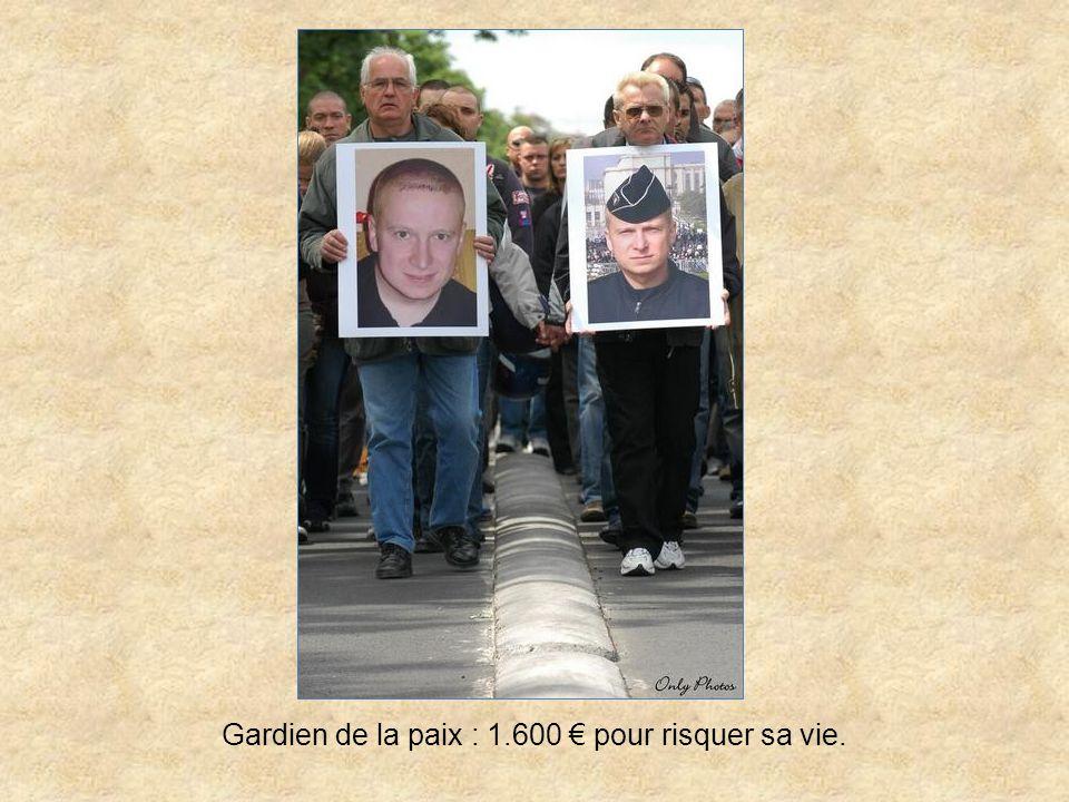 Gardien de la paix : 1.600 € pour risquer sa vie.