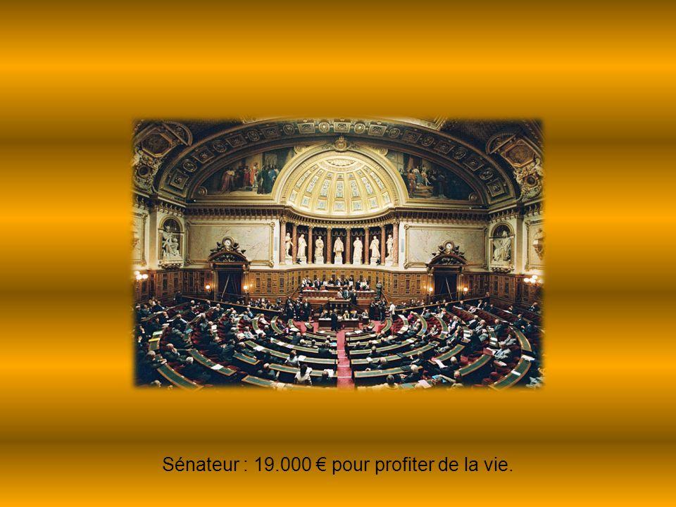 Sénateur : 19.000 € pour profiter de la vie.