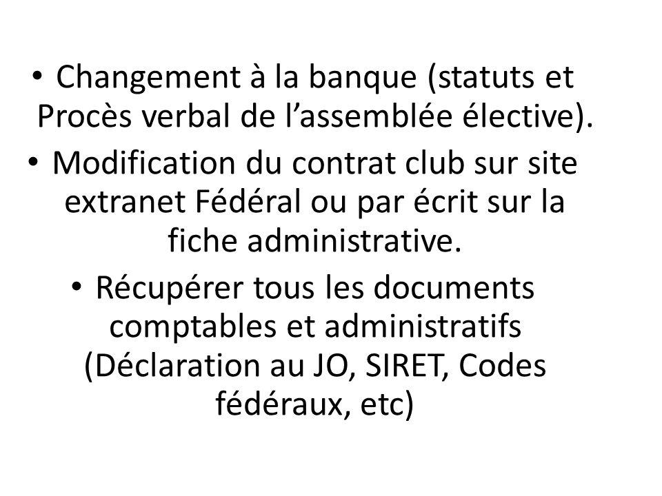 Changement à la banque (statuts et Procès verbal de l'assemblée élective). Modification du contrat club sur site extranet Fédéral ou par écrit sur la