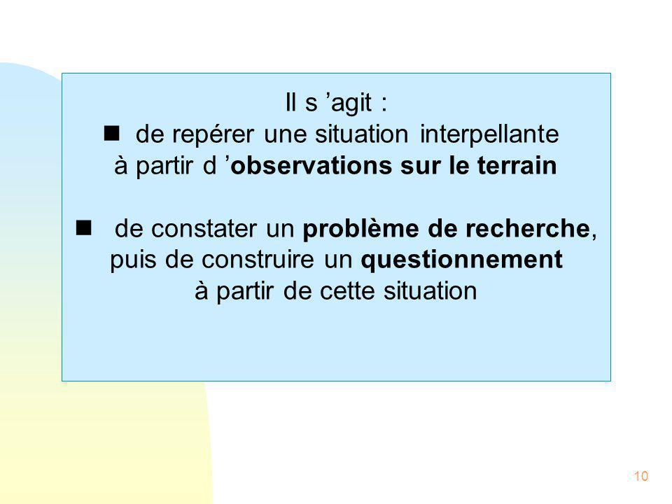 10 Il s 'agit : nde repérer une situation interpellante à partir d 'observations sur le terrain n de constater un problème de recherche, puis de const