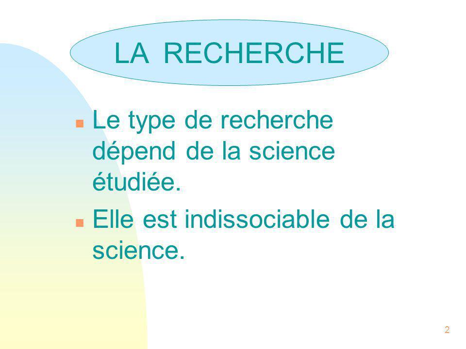 2 LA RECHERCHE n Le type de recherche dépend de la science étudiée. n Elle est indissociable de la science. LA RECHERCHE