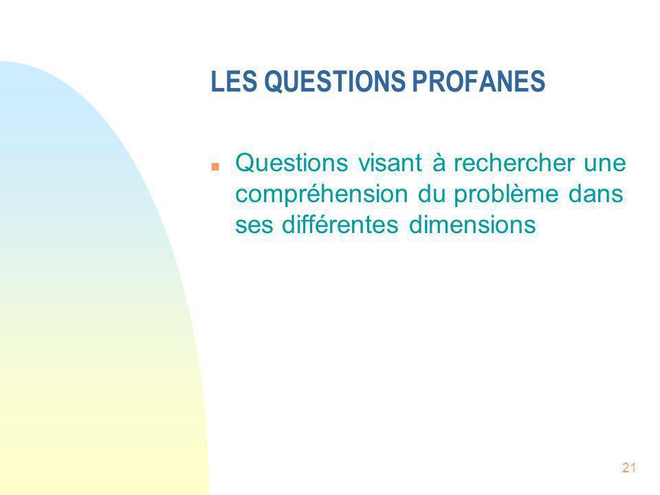 LES QUESTIONS PROFANES n Questions visant à rechercher une compréhension du problème dans ses différentes dimensions 21