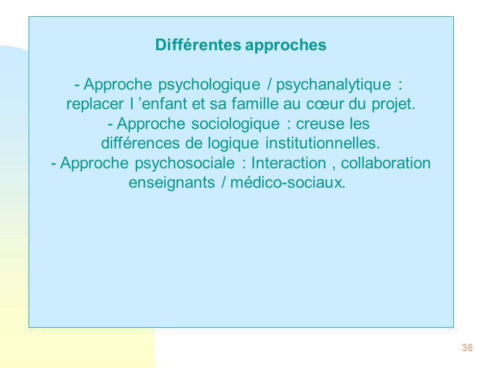 36 Différentes approches - Approche psychologique / psychanalytique : replacer l 'enfant et sa famille au cœur du projet. - Approche sociologique : cr