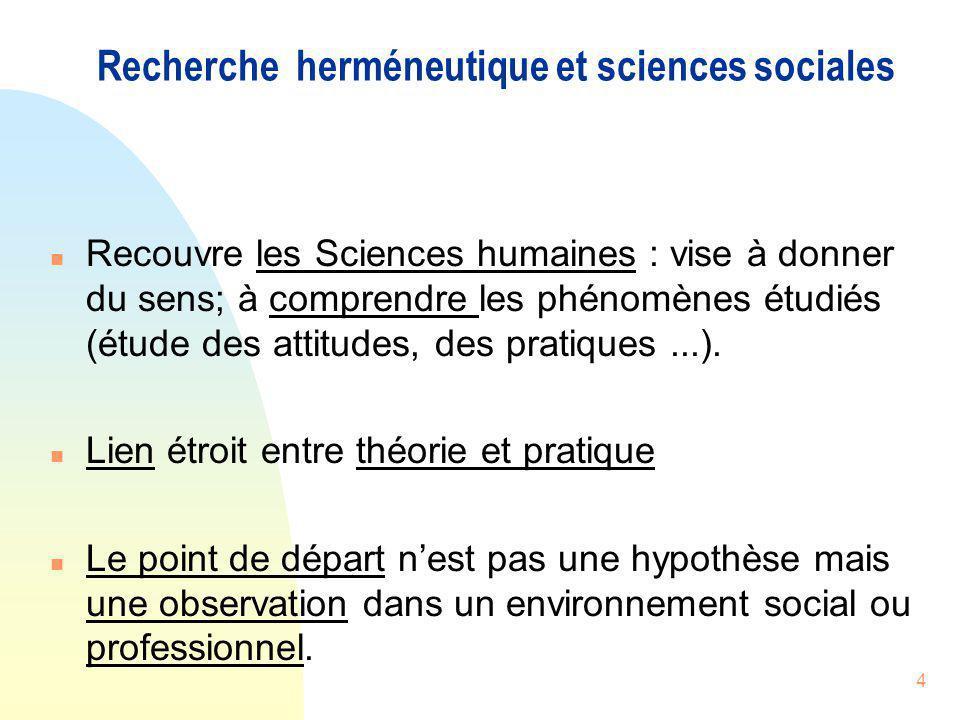 4 Recherche herméneutique et sciences sociales n Recouvre les Sciences humaines : vise à donner du sens; à comprendre les phénomènes étudiés (étude de