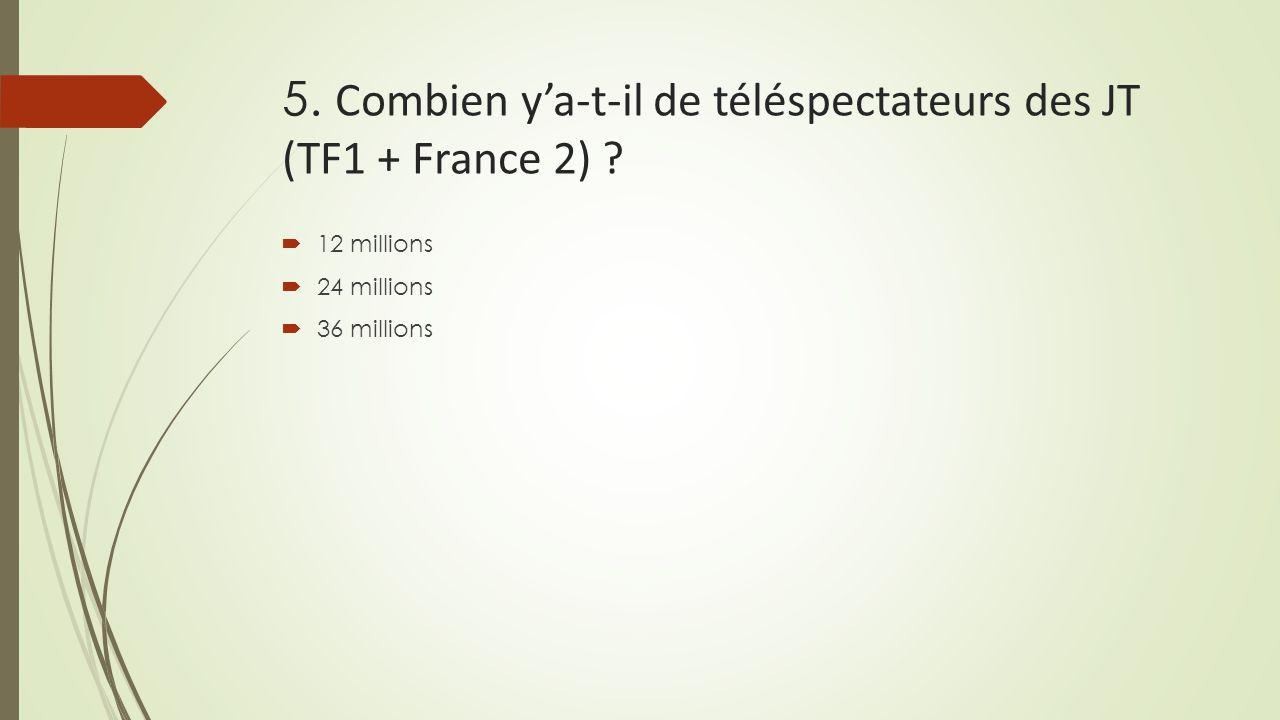 5. Combien y'a-t-il de téléspectateurs des JT (TF1 + France 2) ?  12 millions  24 millions  36 millions