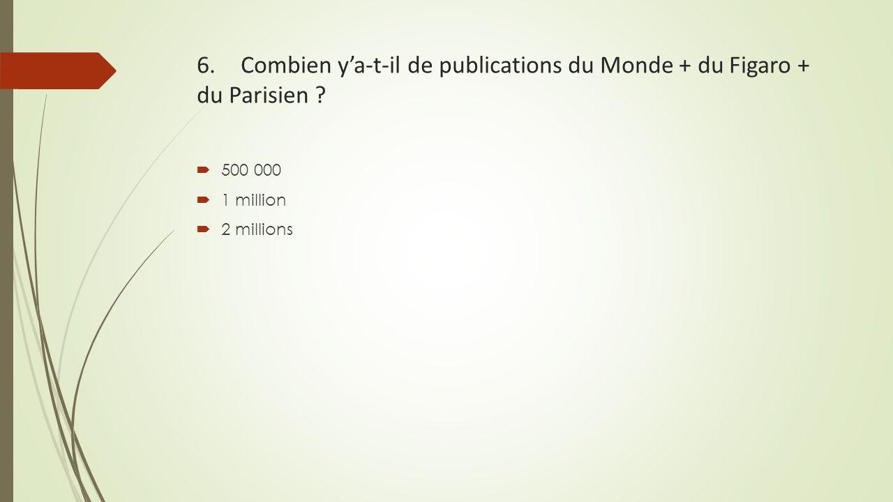 6. Combien y'a-t-il de publications du Monde + du Figaro + du Parisien ?  500 000  1 million  2 millions