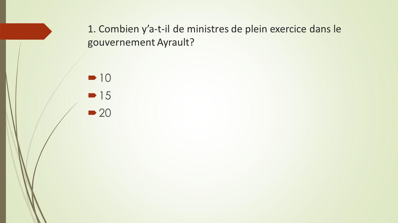 1. Combien y'a-t-il de ministres de plein exercice dans le gouvernement Ayrault?  10  15  20