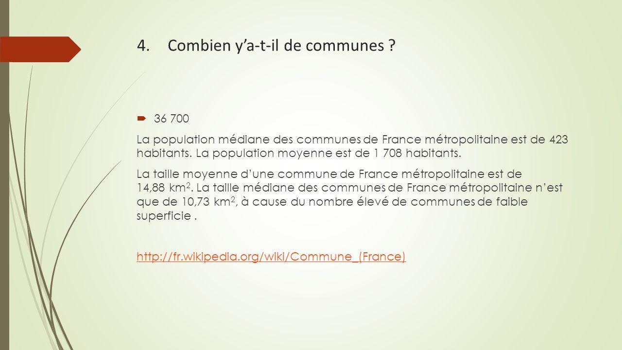 4. Combien y'a-t-il de communes ?  36 700 La population médiane des communes de France métropolitaine est de 423 habitants. La population moyenne est