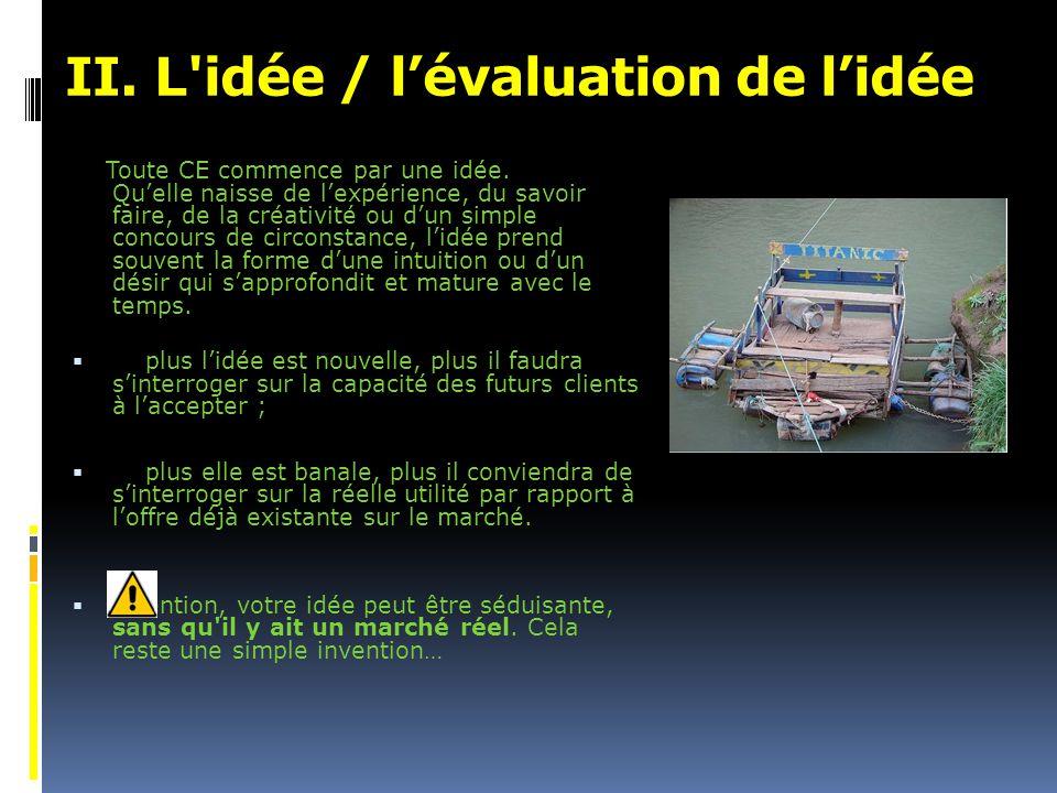 II.L idée / l'évaluation de l'idée Toute CE commence par une idée.