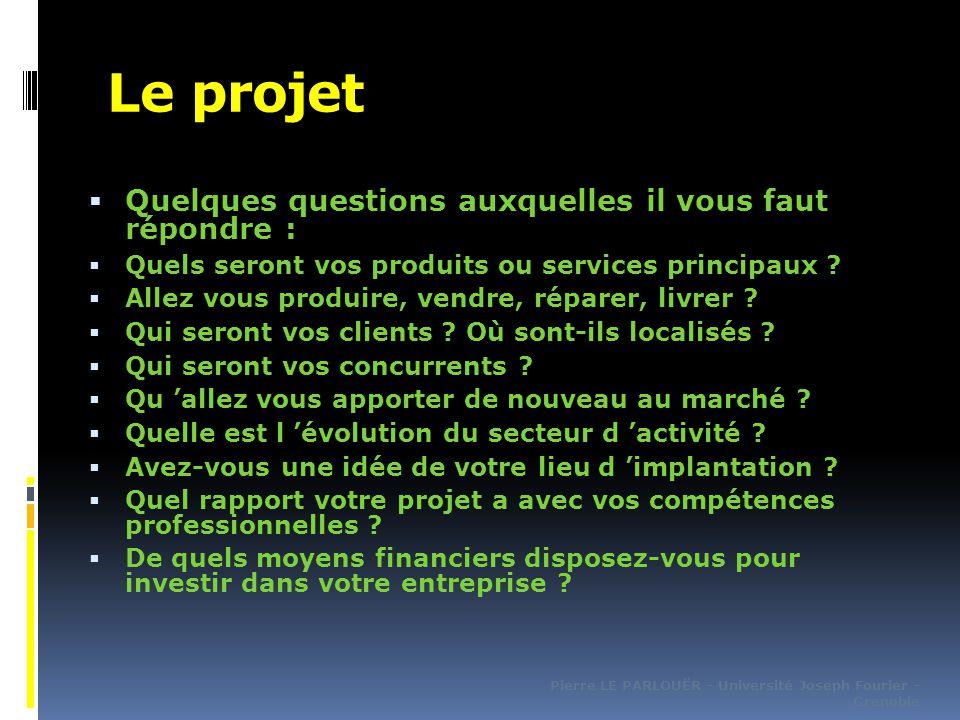 Le projet  Quelques questions auxquelles il vous faut répondre :  Quels seront vos produits ou services principaux .