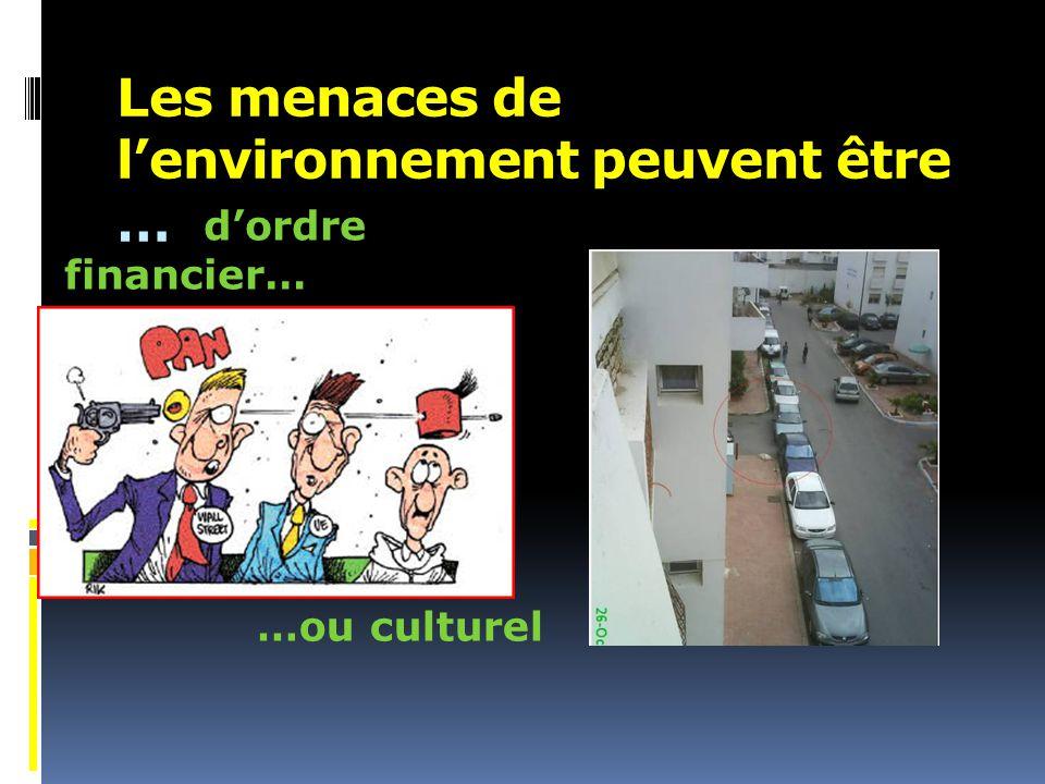 Les menaces de l'environnement peuvent être … d'ordre financier… …ou culturel