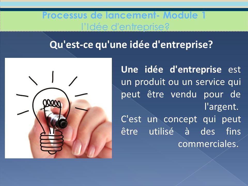 Processus de lancement- Module 1 l'Idée d entreprise.