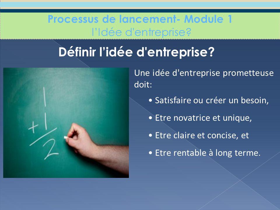Définir l'idée d entreprise. Processus de lancement- Module 1 l'Idée d entreprise.