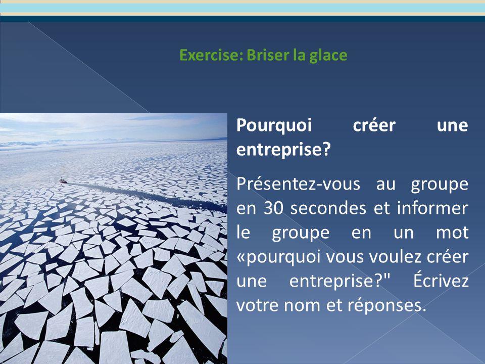 Exercise: Briser la glace Pourquoi créer une entreprise.