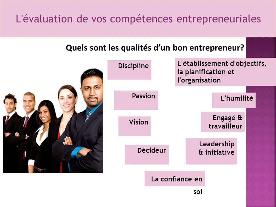 L'évaluation de vos compétences entrepreneuriales Quels sont les qualités d'un bon entrepreneur? La confiance en soi Discipline Décideur Passion Visio