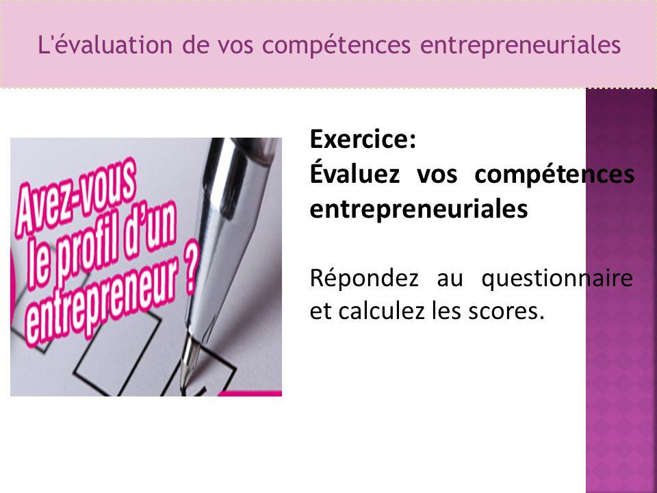 L'évaluation de vos compétences entrepreneuriales Exercice: Évaluez vos compétences entrepreneuriales Répondez au questionnaire et calculez les scores
